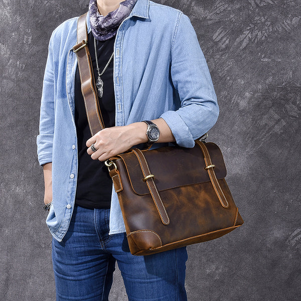 Crazy Horse Leather Men Briefcase Retro Messenger Bag Tote Bag ESS278 - ROCKCOWLEATHERSTUDIO