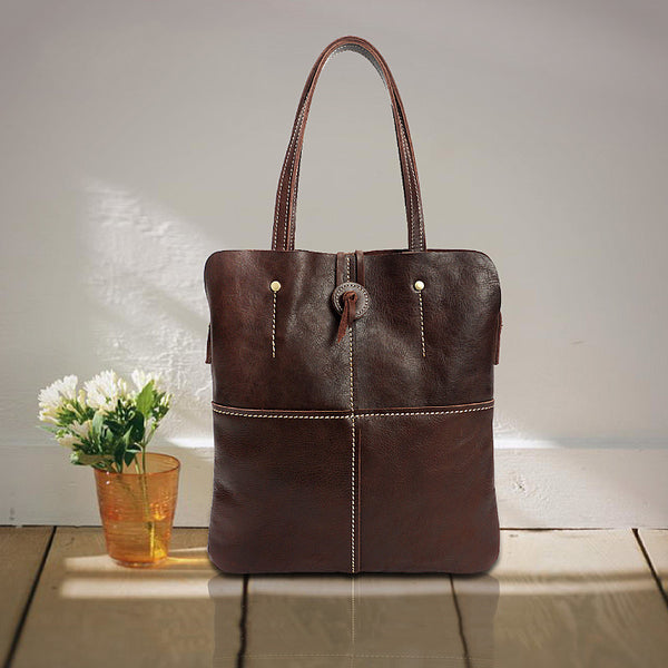 Full Grain Leather Women Tote Bag Handmade Women Shoulder Bag Retro Handbag YD8071 - ROCKCOWLEATHERSTUDIO