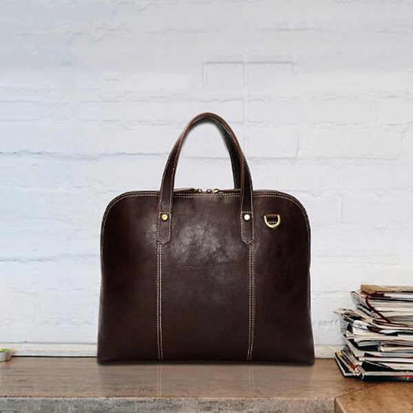 Full Grain Leather Men Briefcase Men Retro Tote Shoulder Bag Handmade Men Messenger Bag YD8096 - ROCKCOWLEATHERSTUDIO