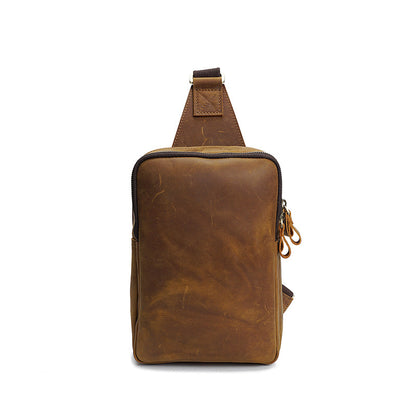 Men Retro Casual Messenger Bag Crazy Horse Leather Men Chest Bag Men Casual Chest Pack YD8054