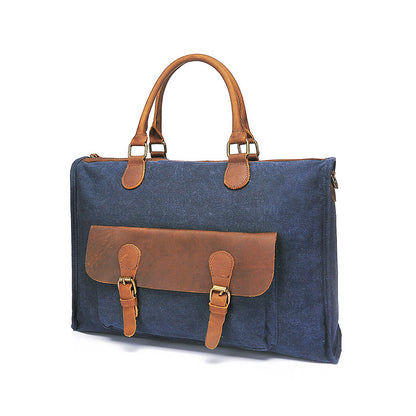 New Style Canvas Leather Briefcase Vintage Crazy Horse Messenger Bag Crossbody Shoulder Bag Laptop Bag 2167