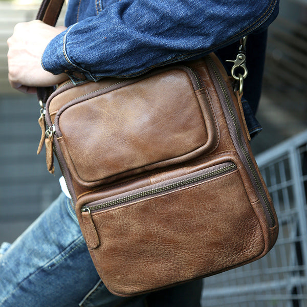 Full Grain Leather Messenger Bag Retro Shoulder Bag Casual Tote Bag Z2039 - ROCKCOWLEATHERSTUDIO