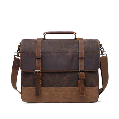 Handmade Vintage Canvas Leather Backpack Vintage Crazy Horse Messenger Bag Crossbody Shoulder Bag Laptop Bag 5595