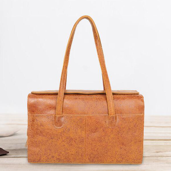 Full Grain Leather Shoulder Bag Vintage Tote Bag Women Handbag YD8171 - ROCKCOWLEATHERSTUDIO