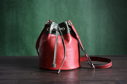 Handmade Genuine Leather Messenger Shoulder Bag Crossbody Bag Women Bag D038 - ROCKCOWLEATHERSTUDIO