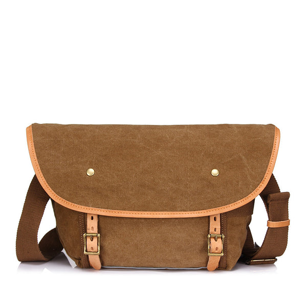 Retro Men Canvas Messenger Bag Canvas Men Shoulder Bag Casual Daily Use Crossbody Bag YD1938 - ROCKCOWLEATHERSTUDIO