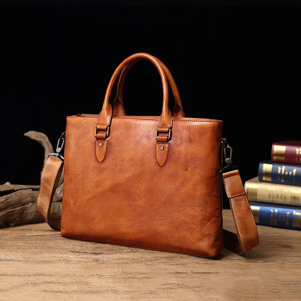 Retro Messenger Bag Full Grain Leather Men Briefcase Men Shoulder Bag V171000 - ROCKCOWLEATHERSTUDIO