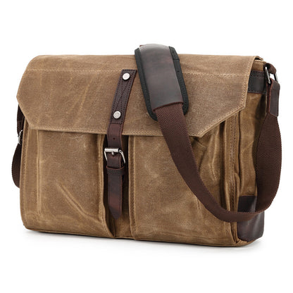 Handmade Canvas Leather Messenger Bag Vintage Crossbody Shoulder Bag Laptop Bag 2065 - ROCKCOWLEATHERSTUDIO