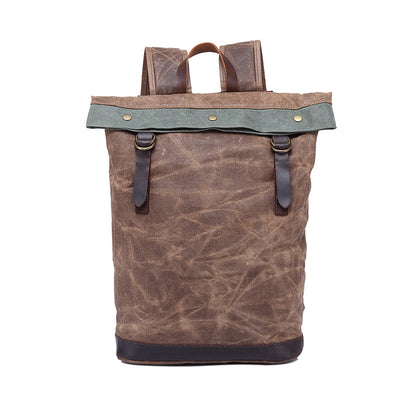 New Design Handmade Waxed Canvas Leather Backpack, Big Capacity Laptop Backpack, Vintage Waterproof Shoulder Travel Bag 2325