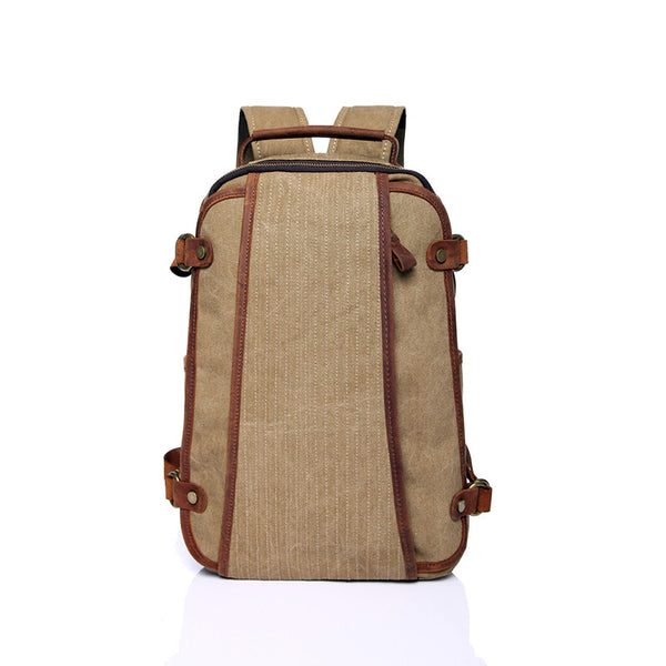 Crazy Horse Leather With Canvas Men Backpack Retro Travel Canvas Backpack Canvas School Backpack YD1806-1 - ROCKCOWLEATHERSTUDIO