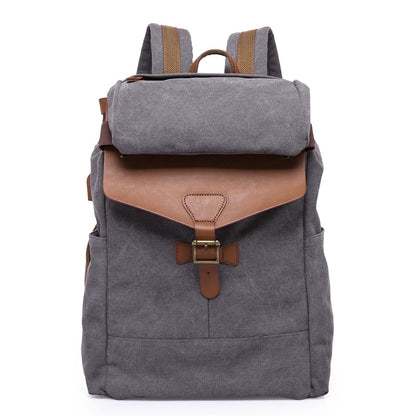 Waxed Canvas Leather Backpack, Big Capacity Laptop Backpack, Vintage Waterproof Shoulder School Bag 5508