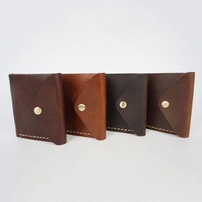 Full Grain Leather Men Short Wallet Handmade Retro Wallet Small Clutch YD1010