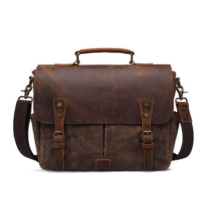 Latest Style Handmade Canvas Leather Briefcase Vintage Crazy Horse Messenger Bag Crossbody Shoulder Bag Laptop Bag 5313