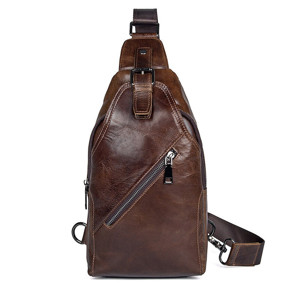 Genuine Leather Men Chest Bags Leisure Chest Pack Men Crossbody Sling Bags 4014 - ROCKCOWLEATHERSTUDIO