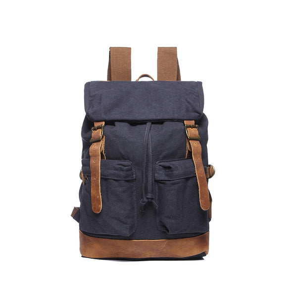 New Leather With Canvas Men Backpack Men Large Travel Backpack Vintage School Backpack YD1998 - ROCKCOWLEATHERSTUDIO