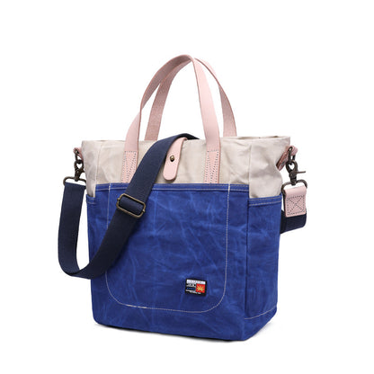 Men Canvas Top Grain Leather Tote Bag, Fashion Shoulder Bags, Fashion Daily Handbag 5232
