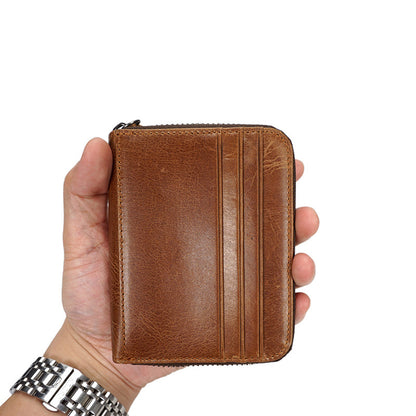 Men Retro Card Holder Full Grain Leather Short Wallet Casual Card Wallet YD6610