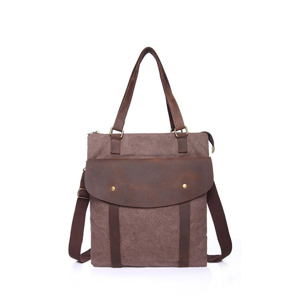 Crazy Horse Leather With Canvas Tote Bag Durable Shoulder Messenger Bag Vintage Canvas Handbag YD1891 - ROCKCOWLEATHERSTUDIO