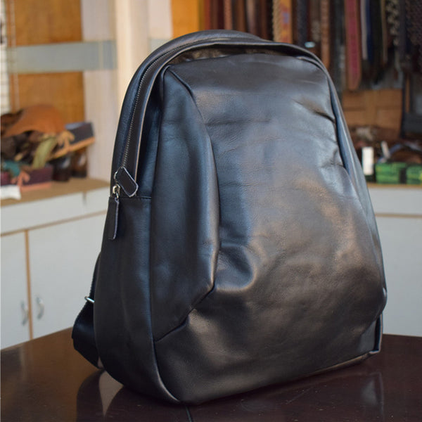 Vegetable Tanned Leather Laptop Backpack Men Handmade Backpack School Backpack PEY916 - ROCKCOWLEATHERSTUDIO