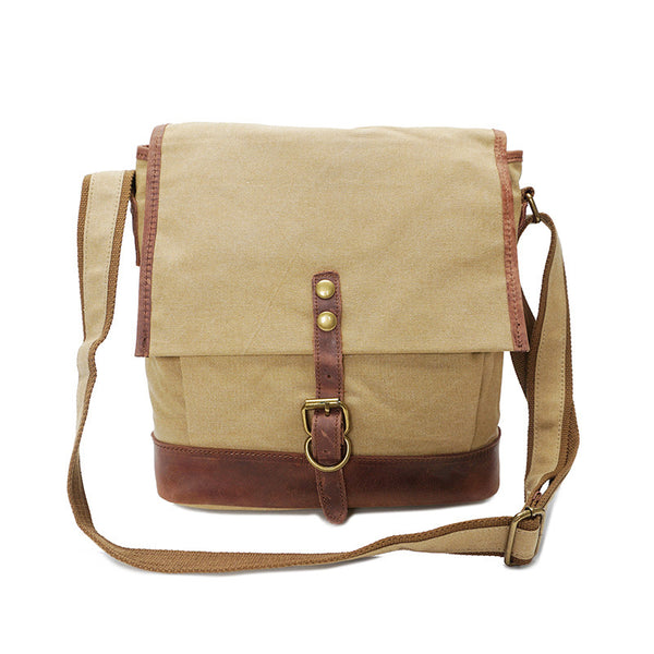 Crazy Horse Leather With Canvas Men Shoulder Bag Men Everyday Work Shoulder Bag Canvas Messenger Bag YD1815 - ROCKCOWLEATHERSTUDIO