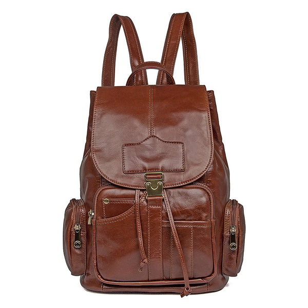 Top Grain Leather School Backpack, Casual Shoulder Travel Bag For Women 7287 - ROCKCOWLEATHERSTUDIO
