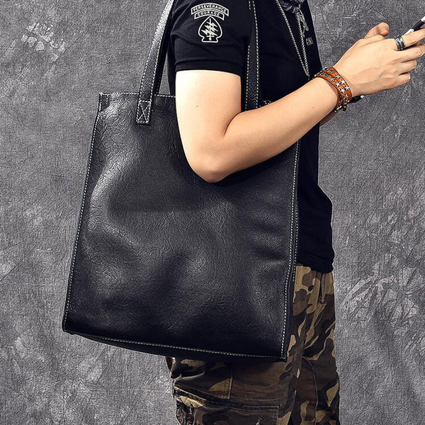 Crazy Horse Leather Tote Bag Handmade Shoulder Bag Shopping Bag ESS298 - ROCKCOWLEATHERSTUDIO