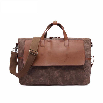 Travelling Canvas Leather Briefcase Vintage Crazy Horse Messenger Bag Crossbody Shoulder Bag Laptop Bag 5513