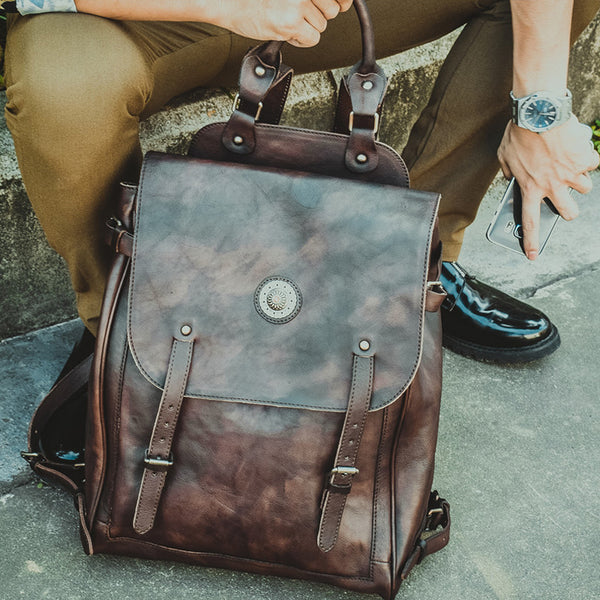 Vegetable Tanned Leather Backpack Retro Travel Backpack Men Backpack PEYB150 - ROCKCOWLEATHERSTUDIO