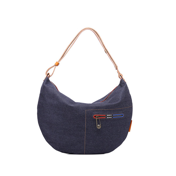 Unisex Denim Canvas Shoulder Bag Leather With Canvas Hobo Bag Multifunction Canvas Tote Bag YD3090 - ROCKCOWLEATHERSTUDIO