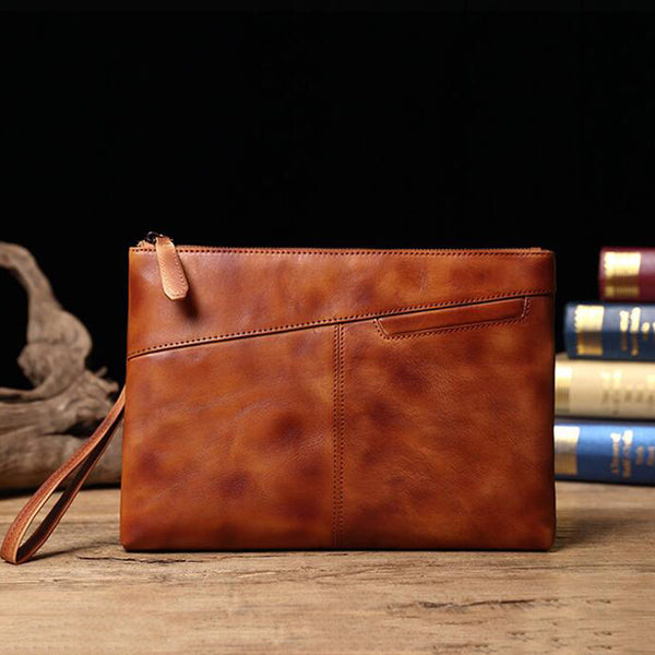Full Grain Leather Men Clutch Men Handmade Envelope Clutch Retro Wrist Bag V171290 - ROCKCOWLEATHERSTUDIO