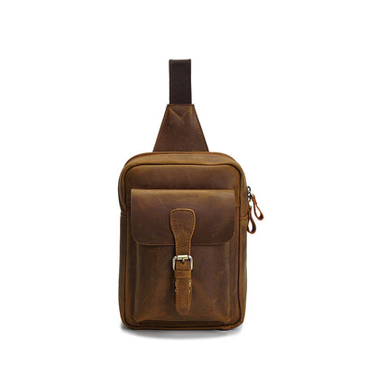 Full Grain Leather Men Chest Pack Men Retro Messenger Bag Leather Men Shoulder Bag YD8053 - ROCKCOWLEATHERSTUDIO