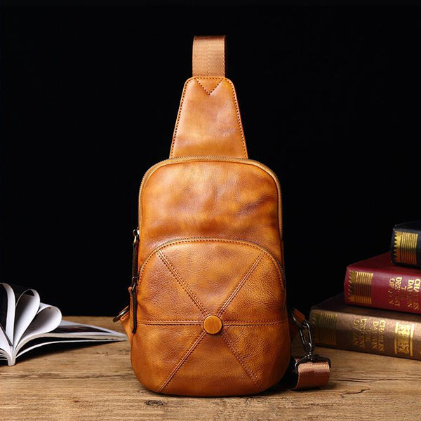 Full Grain Leather Chest Pack Retro Chest Bag Casual Messenger Bag V180543 - ROCKCOWLEATHERSTUDIO