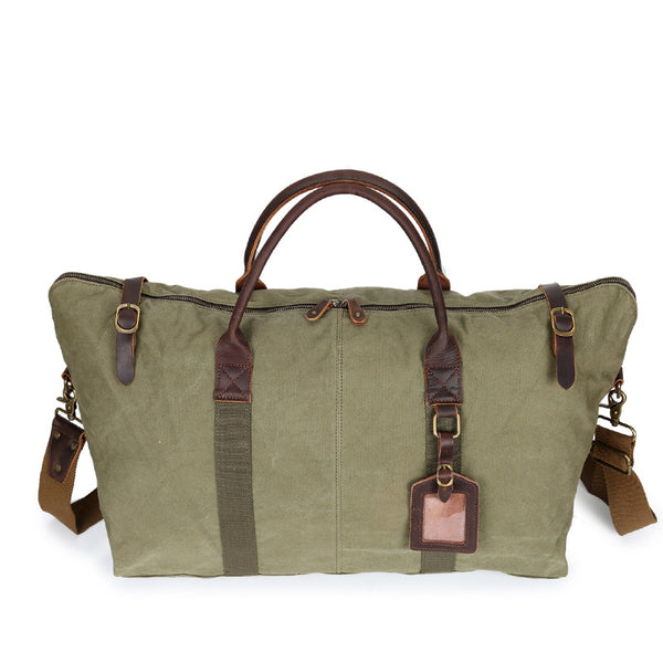 Leather Canvas Tote Travel Bag Large Capacity Duffle Bag Canvas Travel Duffel Bag YD2220 - ROCKCOWLEATHERSTUDIO
