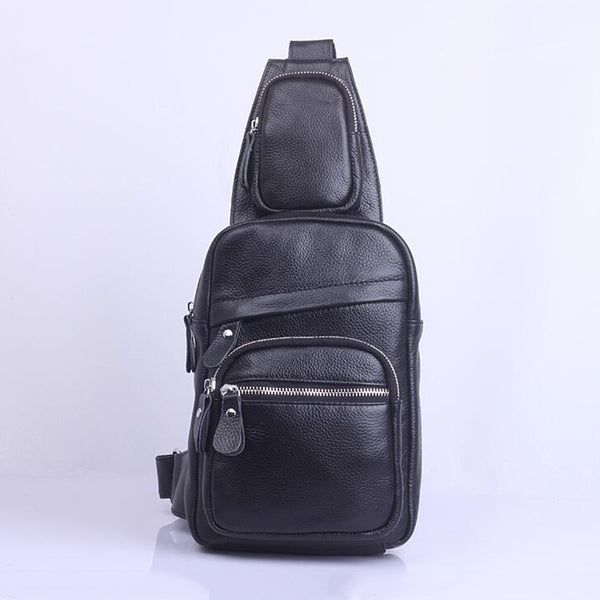 Full Grain Leather Chest Pack Men Messenger Bag Sling Bag V6493 - ROCKCOWLEATHERSTUDIO