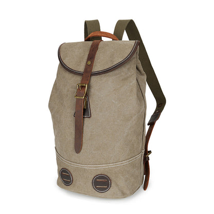 Waxed Canvas Leather Backpack, Big Capacity Laptop Backpack, Vintage Waterproof Shoulder School Bag 3160