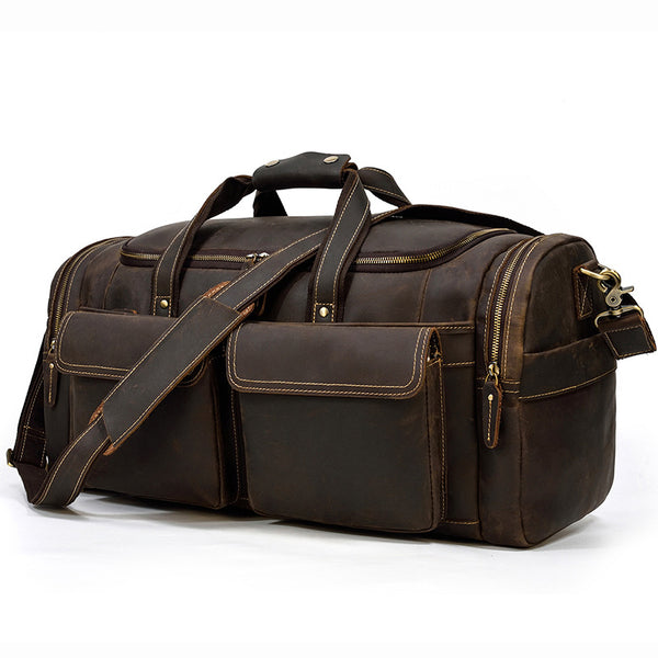 Crazy Horse Leather Duffle Bag Retro Large Capacity Tote Travel Bag Mens Weekender Overnight Bag LF3841