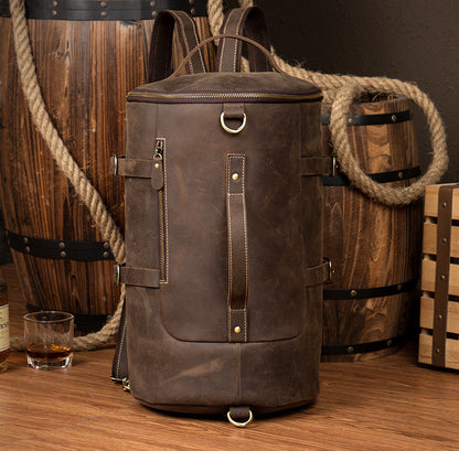Vintage Style Genuine Leather Travel Backpack, Messenger Bag, Sling Bag Z106 - ROCKCOWLEATHERSTUDIO