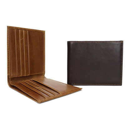 Men Bifold Wallet Full Grain Leather Short Wallet Simple Style Small Clutch YD6605
