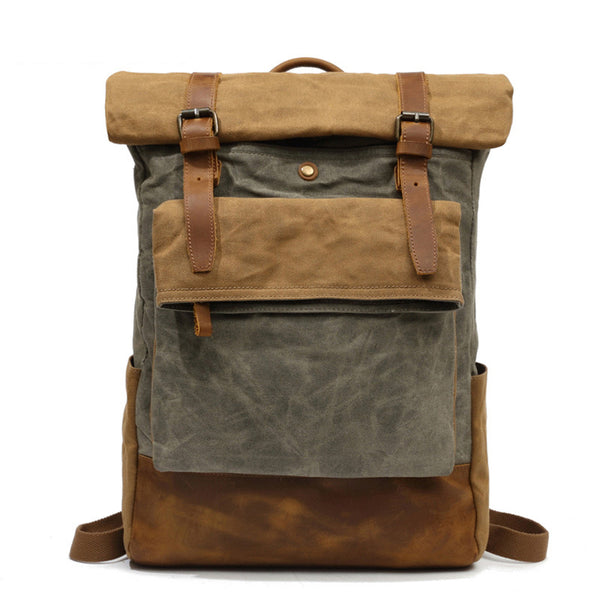 Outing Canvas Leather Rucksack, Casual Backpack, Vintage Waterproof Travel Shoulder Bag 8835 - ROCKCOWLEATHERSTUDIO