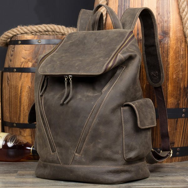 Handmade Travel Backpack Full Grain Leather Laptop Backpack Retro School Backpack MSG8868 - ROCKCOWLEATHERSTUDIO