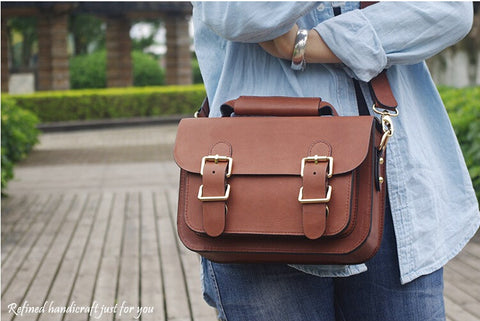 Custom Handmade Leather Briefcase Messenger Bag Shoulder Bag Men's Handbag Satchel Bag D014 - ROCKCOWLEATHERSTUDIO