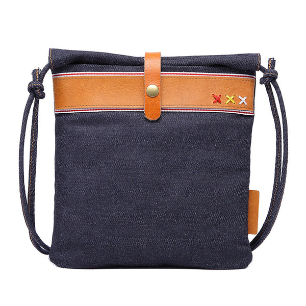 Women Vintage Denim Canvas Shoulder Bag Canvas Satchel Bag Leather With Canvas Daily Messenger Bag YD3121