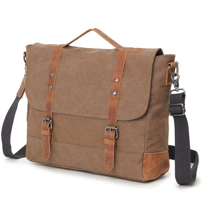 Handmade Canvas Leather Briefcase Vintage Crazy Horse Messenger Bag Crossbody Shoulder Bag Laptop Bag P15S20 - ROCKCOWLEATHERSTUDIO