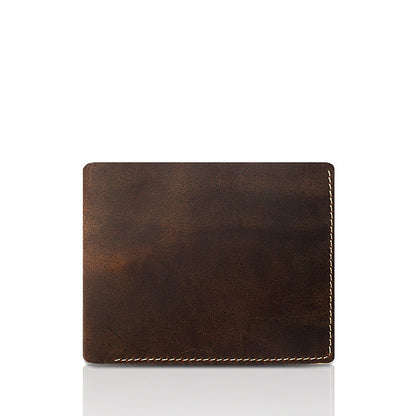 Crazy Horse Leather Men Short Wallet Men Simple Style Bifold Wallet Retro Men Small Clutch YD1004 - ROCKCOWLEATHERSTUDIO