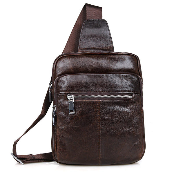 Best Genuine Leather Men Chest Bags Leisure Chest Pack Men Crossbody Sling Messenger Bags 7216 - ROCKCOWLEATHERSTUDIO