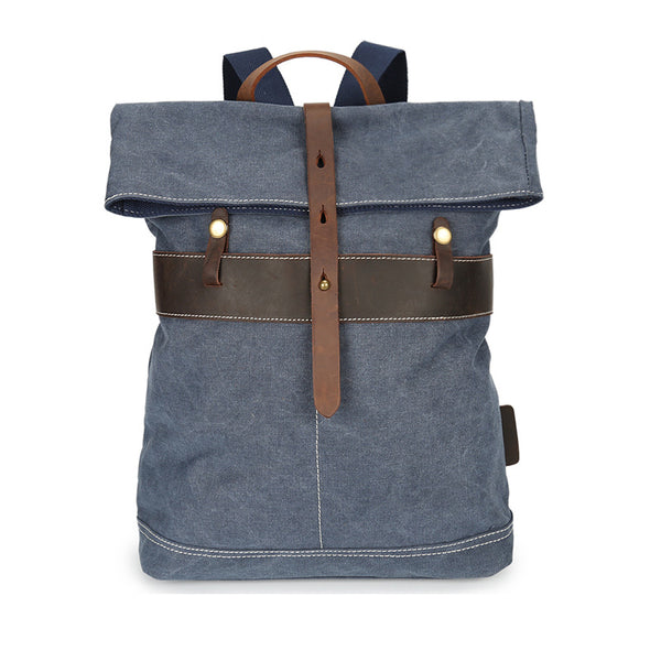 Retro Canvas School Bag Leather With Canvas Travel Backpack Large Capacity Laptop Backpack YD3152 - ROCKCOWLEATHERSTUDIO