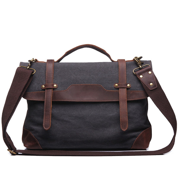 Men Leather With Canvas Tote Bag Men Vintage Canvas Briefcase Bag 14 Inch Laptop Bag YD1935 - ROCKCOWLEATHERSTUDIO