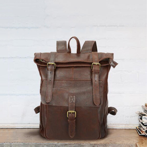 Full Grain Leather Travel Backpack Retro Travel School Backpack Leather Laptop Backpack YD8186 - ROCKCOWLEATHERSTUDIO