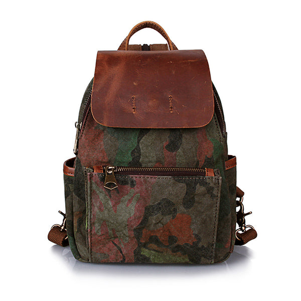 New Leather With Canvas Vintage Backpack Handmade Fashion School Backpack Daily Use Camouflage Backpack YD2058 - ROCKCOWLEATHERSTUDIO