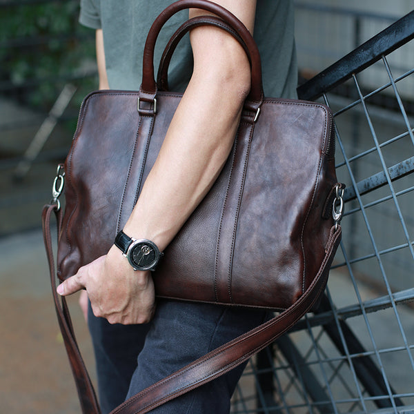 c6c10e0ac Handmade Men Tote Bag Vegetable Tanned Leather Shoulder Bag Laptop Mes –  ROCKCOWLEATHERSTUDIO
